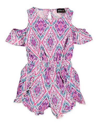 Girls 4-6x Printed Cold Shoulder Romper,FUCHSIA,large