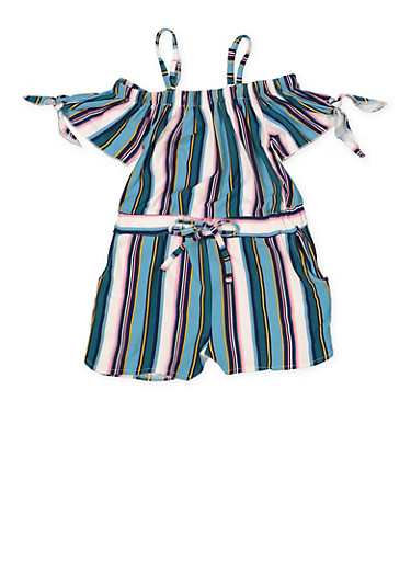 Girls 4-6x Striped Off the Shoulder Romper,TEAL,large