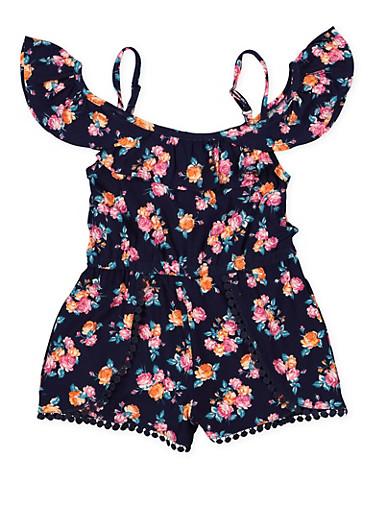 Girls 4-6x Floral Cold Shoulder Romper,NAVY,large