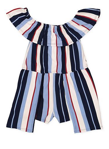 Girls 4-6x Striped Soft Knit Romper,WINE,large