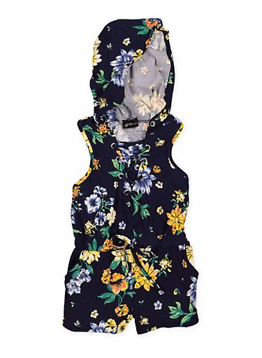 Girls 4-6x Lace Up Floral Romper,NAVY,large