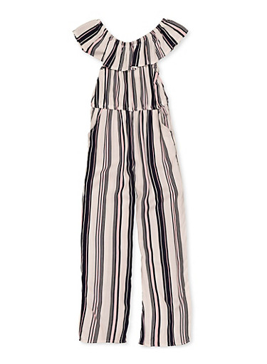 Girls 4-6x Ruffle Striped Jumpsuit,NAVY,large