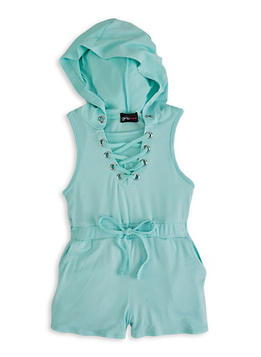 Little Girls Lace Up Hooded Romper,TURQUOISE,large