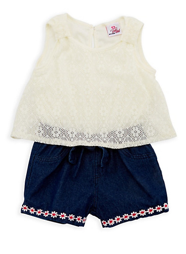 Girls 4-6x Lace Denim Romper,IVORY,large