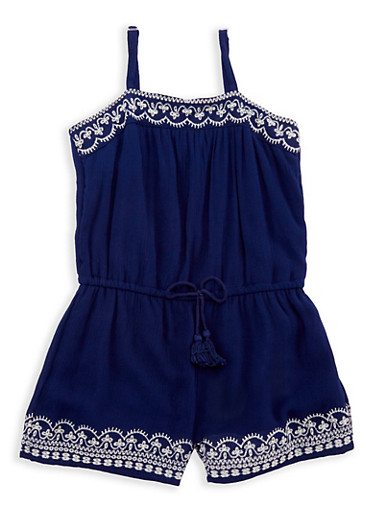 Girls 4-6x Gauze Knit Embroidered Romper,NAVY,large