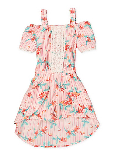 Girls 4-6x Floral Off the Shoulder Overlay Romper,CORAL,large