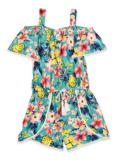 Girls 4-6x Tropical Floral Off the Shoulder Romper,TURQUOISE,large