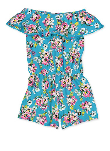 Girls 4-12 Floral Off the Shoulder Romper,TURQUOISE,large