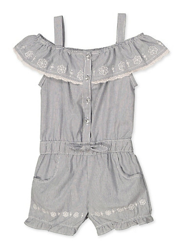 Girls 4-6x Embroidered Denim Romper,LIGHT WASH,large