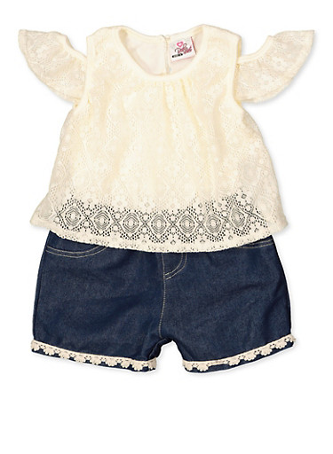 Girls 4-6x Lace Cold Shoulder Romper,IVORY,large
