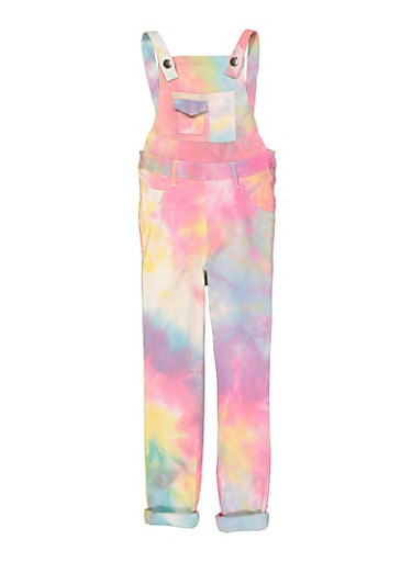 Little Girls Hyperstretch Tie Dye Overalls,MULTI COLOR,large
