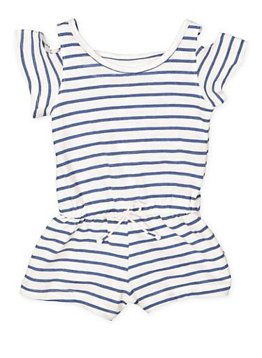 Girls 4-6x Striped Cold Shoulder Romper,NAVY,large