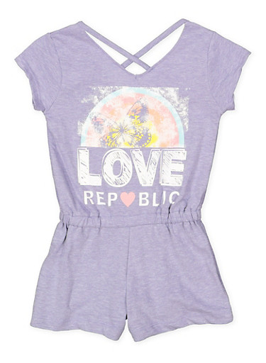 Girls 4-6x Caged Graphic Romper,LAVENDER,large