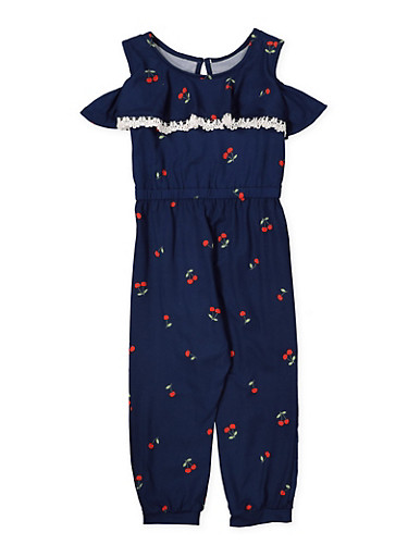 Girls 4-6x Cherry Print Jumpsuit,NAVY,large