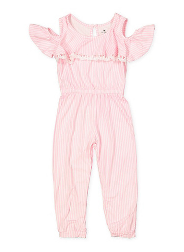 Girls 4-6x Soft Knit Striped Jumpsuit,PINK,large