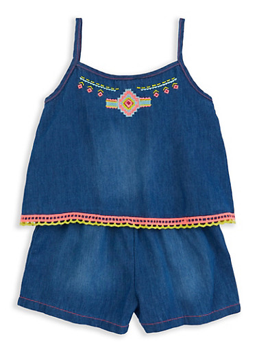 Girls 4-6x Limited Too Embroidered Overlay Denim Romper,MEDIUM WASH,large