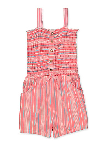 Girls 7-16 Striped Faux Button Romper,CORAL,large