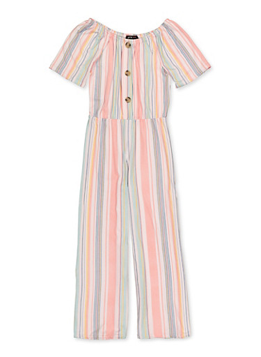 Girls 7-16 Striped Soft Knit Jumpsuit,CORAL,large
