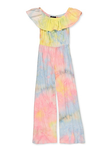 Girls 7-16 Tie Dye Off the Shoulder Jumpsuit,YELLOW,large
