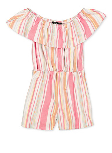 Girls 7-16 Off the Shoulder Striped Romper,FUCHSIA,large