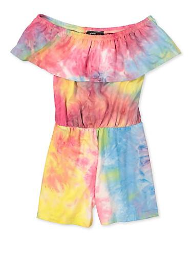 Girls 7-16 Ruffled Tie Dye Off the Shoulder Romper,PINK,large