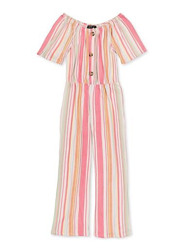 Girls 7-16 Button Detail Striped Jumpsuit,FUCHSIA,large
