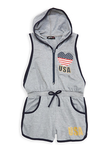 Girls 7-16 USA Graphic Hooded Romper,NAVY,large
