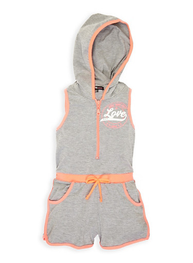 Girls 7-16 Love Glitter Graphic Hooded Romper,HEATHER,large