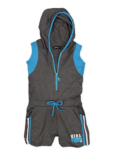 Girls 7-16 Hooded Graphic Detail Romper,CHARCOAL,large