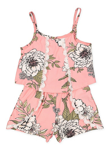 Girls 7-16 Floral Overlay Cami Romper,BLUSH,large