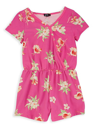 Girls 7-16 Floral Faux Wrap Romper,PINK S,large