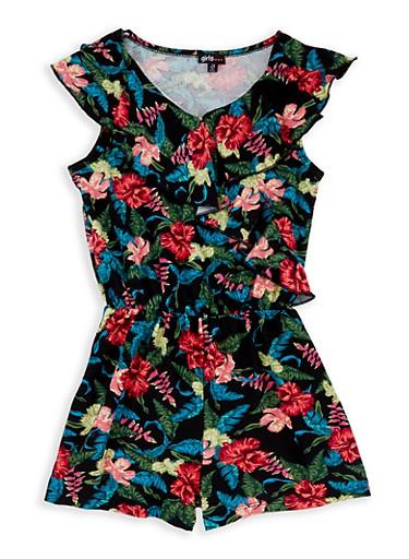 Girls 7-16 Floral Ruffle Romper,BLACK,large