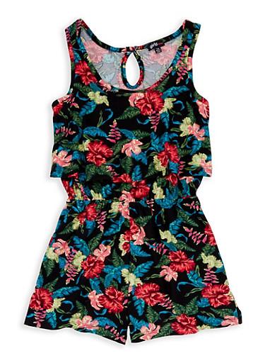 Girls 7-16 Floral Overlay Romper,BLACK,large