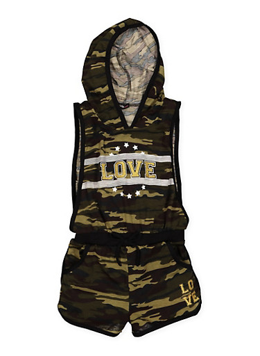 Girls 7-16 Hooded Love Graphic Camo Romper,CAMOUFLAGE,large