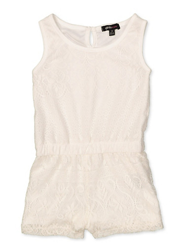 Girls 7-16 Lace Tank Romper,IVORY,large