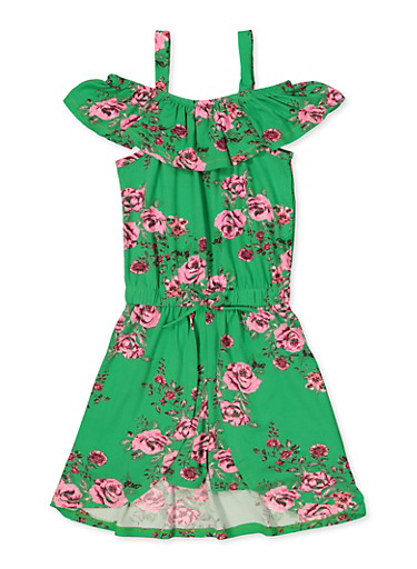 Girls 7-16 Floral Overlay Ruffle Romper,GREEN,large