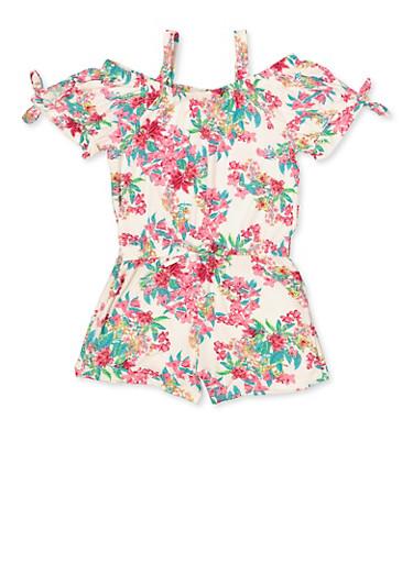 Girls 7-16 Floral Tie Sleeve Off the Shoulder Romper,IVORY,large