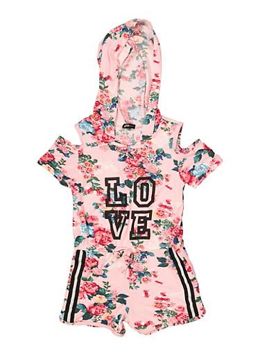 Girls 5-16 Hooded Love Floral Cold Shoulder Romper,MAUVE,large