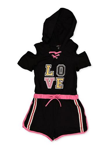 Girls 7-16 Love Hooded Cold Shoulder Romper,BLACK,large