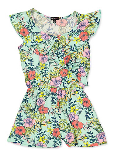 Girls 7-16 Asymmetrical Ruffle Floral Romper,MINT,large