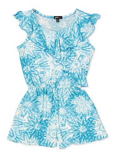 Girls 7-16 Ruffled Tie Dye Romper,TEAL,large