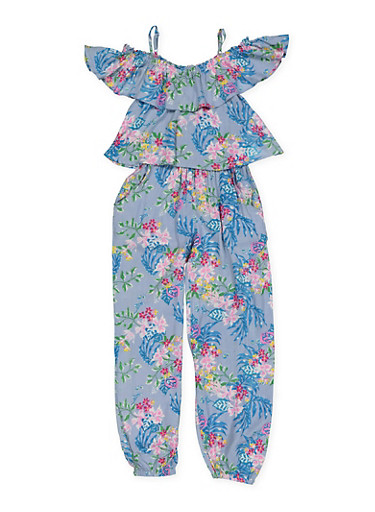 Girls 5-16 Floral Overlay Jumpsuit,TURQUOISE,large