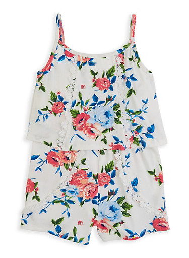 Girls 7-16 Floral Overlay Cami Romper | 1619038340154,WHITE,large