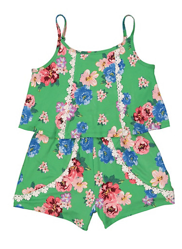 Girls 7-16 Soft Knit Floral Romper,GREEN,large