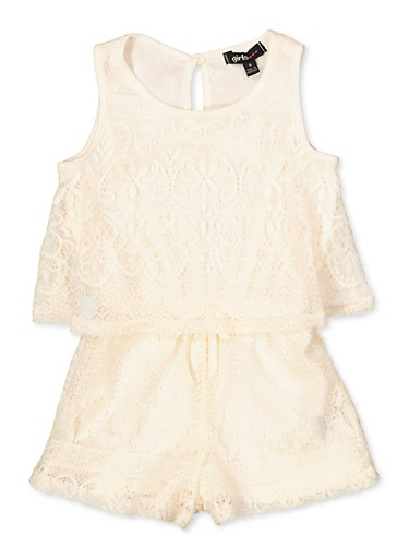 Girls 4-16 Lace Overlay Tank Romper,IVORY,large