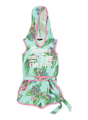 Girls 7-16 Forever Fabulous 95 Floral Romper,MINT,large
