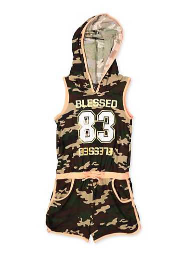 Girls 7-16 Hooded Blessed Camo Romper,OLIVE,large