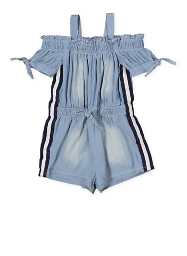 Girls 7-16 Striped Tape Denim Romper,LIGHT WASH,large