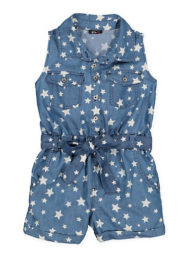 Girls 7-16 Star Print Chambray Romper,MEDIUM WASH,large