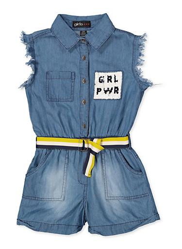 Girls 7-16 GRL PWR Reversible Sequin Pocket Denim Romper,MEDIUM WASH,large